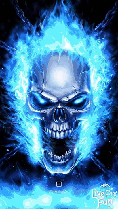 Skull Wallpapers Flame Android Fire Flames Moving