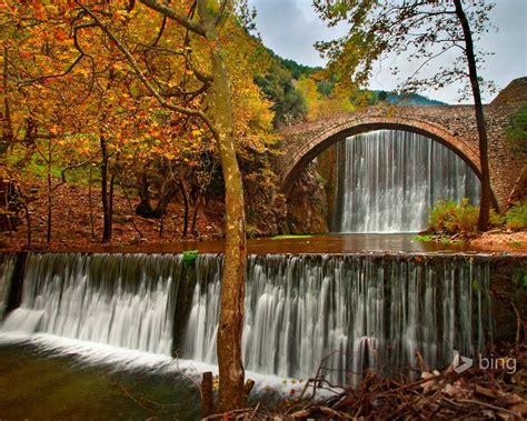 arch stream waterfall bing theme wallpaper preview