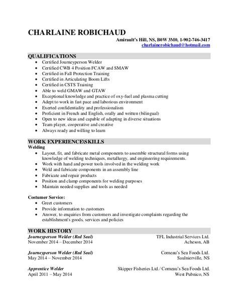 Welding Inspector Resume Template by Charlaine Robichaud Welding Resume