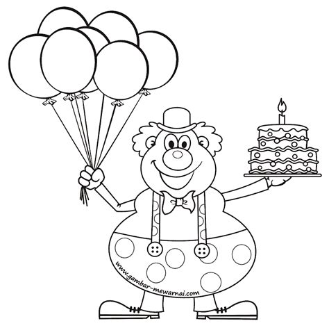 gambar mewarnai badut ulang tahun