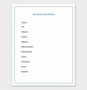 Lesson plan template 5 daily weekly monthly for word for Simple lesson plan template doc