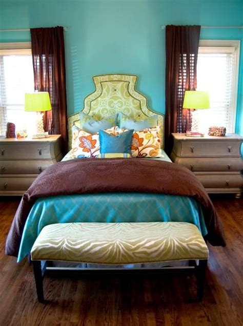 color inspiration rich turquoise  brown bedroom