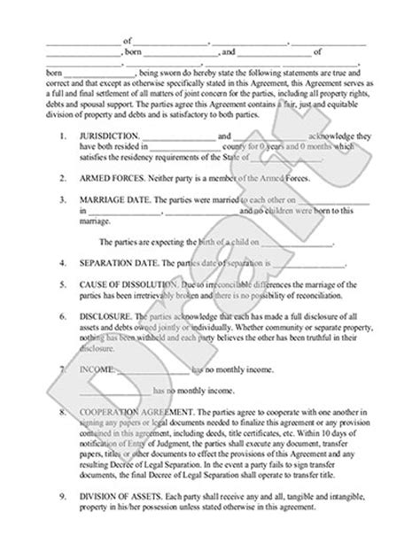 legal marriage separation agreement template  sample