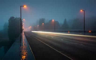 Night Street Road Lights Rain Exposure Mist