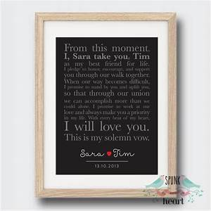 Wedding anniversary vows wall art print spunk and heart
