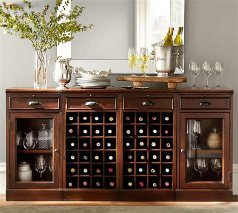 pottery barn wine cabinet modular bar buffet with 2 wine grid bases 2 glass door