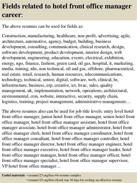 top 8 hotel front office manager resume sles