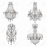 Chandelier Chandeliers Drawings Drawing Sketch Tattoo Classical Material Vectors Four Sketches Coloring Cliparts Royalty Lighting Neo Discover sketch template