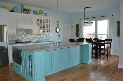 Light Teal Kitchen Cabinets by White Kitchen Cabinets With Teal Island Grey Quartz