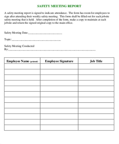 incident report formats  word pages