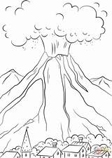 Volcano Eruption Coloring Volcanic Pages Drawing Printable Print Volcanoes Natural Volcanos Getdrawings sketch template