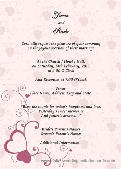 sample wedding card invitation wedding invitation layout