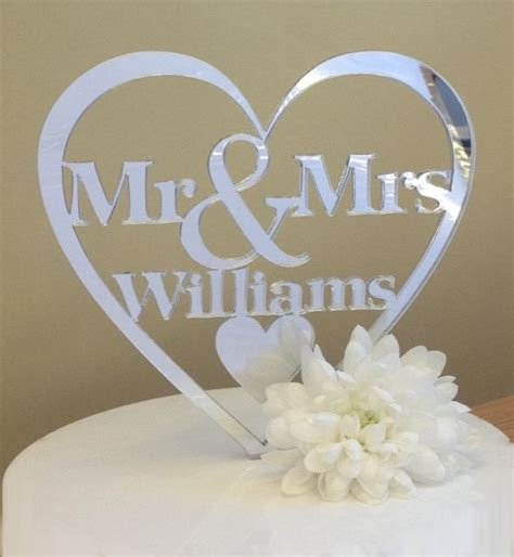 Silver Mirror Mr And Mrs Cake Topper Caketoppers