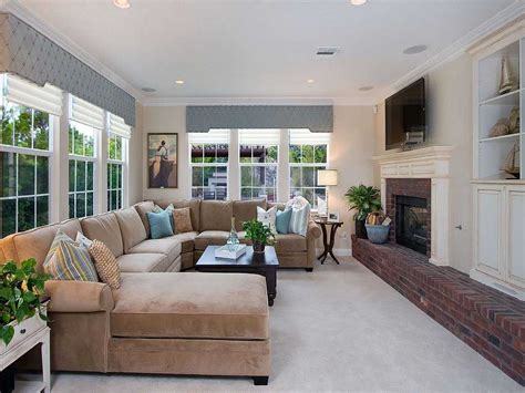Living Room With Sectional And Corner Fireplace by Narrow Family Room Decorating With Fireplace Led Tv