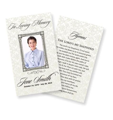 funeral prayer cards examples funeral program template