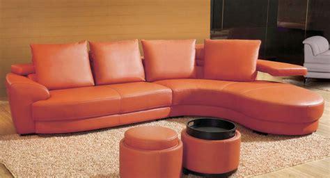 contemporary orange leather sectional sofa set with ottoman by toshfurniture ebay - Orange Leather Sofa Set