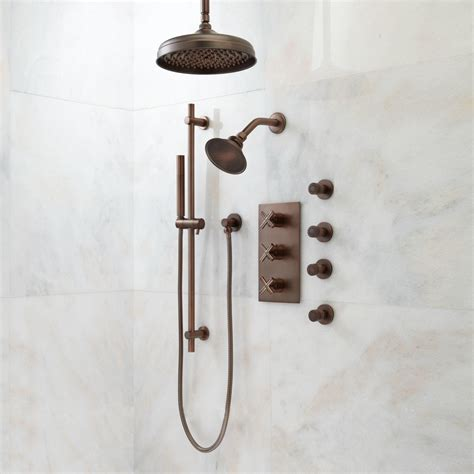 Oil Rubbed Bronze Bathroom Accessories Delta by Exira Thermostatic Shower System Dual Shower Heads Hand