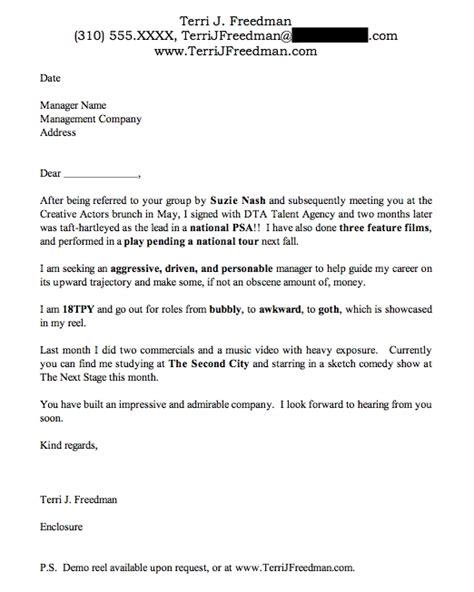 resume exles templates actor cover letter artist cover