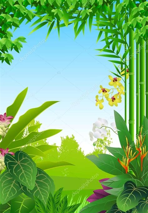 foto de Fundo de floresta tropical Vetor de Stock © starlight789