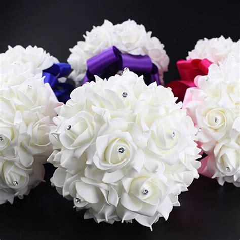 bouquet crystal bridal wedding bouquet silk flower