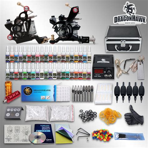 Complete Tattoo Kit 2 Top Machine Gun 40 Color Ink Power
