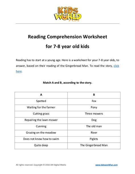 reading comprehension worksheet for 7 8 years
