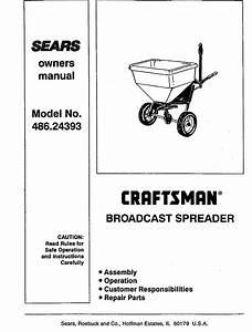Craftsman 48624393 User Manual Broadcast Spreader Manuals