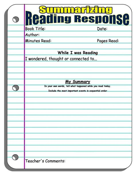 Reading Log With Summary Template by Reading Log With Summary Template Sletemplatess