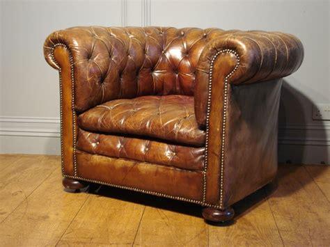 soldantique brown leather chesterfield armchair antique