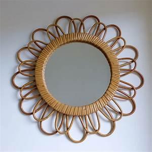 Miroir En Rotin : miroir fleur en rotin lignedebrocante brocante en ligne ~ Nature-et-papiers.com Idées de Décoration