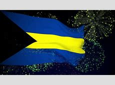 Bahamas Flag Slowly Waving In The Wind Silk Material