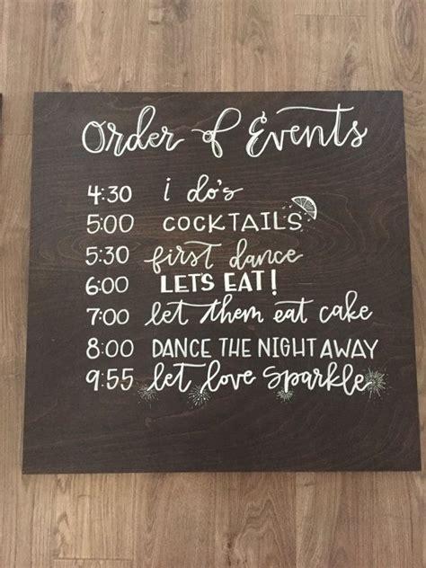 wedding order   timeline sign