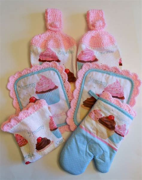 cupcake accessories for kitchen cupcake kitchen decor hanging towels pot holders pink 6321