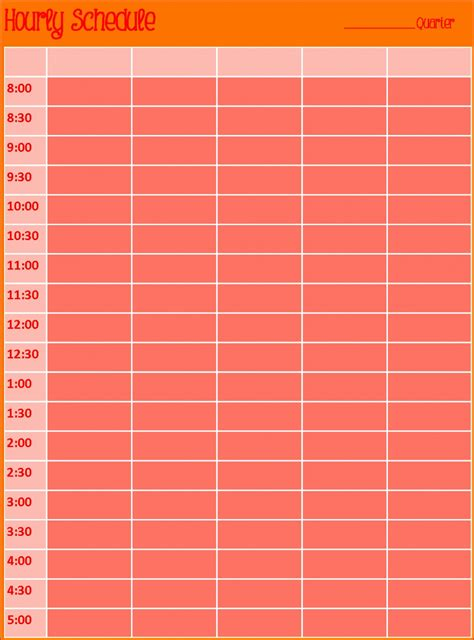 hourly calendar template excel exceltemplates