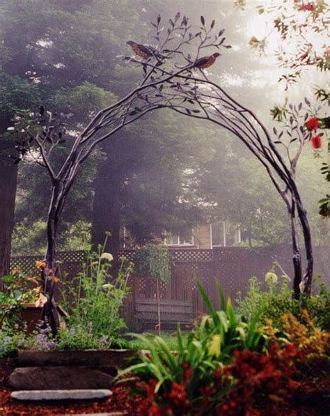 Metal Garden Trellis With Tree Of Design these metal garden trellises are beautiful with or without