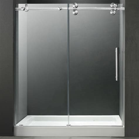60 shower door vigo 60 inch frameless center drain shower door 0 375 inch