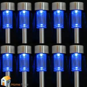 10pcs solar powered blue led steel l light outdoor home garden path lighting ebay