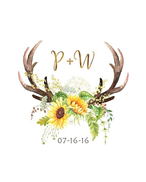 sunflower antler bridal shower decor printable wedding date monogram boho tribal woodland