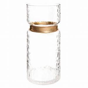 Vase En Verre Haut : vase haut en verre et laiton h 28 cm maisons du monde ~ Nature-et-papiers.com Idées de Décoration