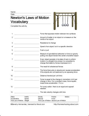 free printable newton s laws of motion word search