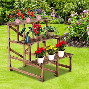 Outsunny, 32, U201d, Wooden, 3-tier, Step, Style, Plant, Stand