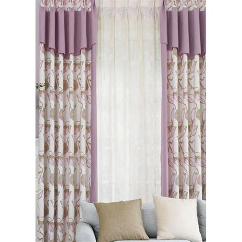 Note Bedroom Curtains by Purple Floral Jacquard Poly Cotton Blend Color