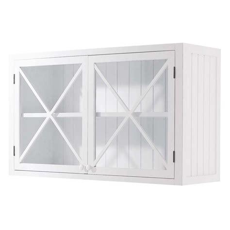 meuble cuisine vitré meuble haut vitré de cuisine en pin blanc l 120 cm newport