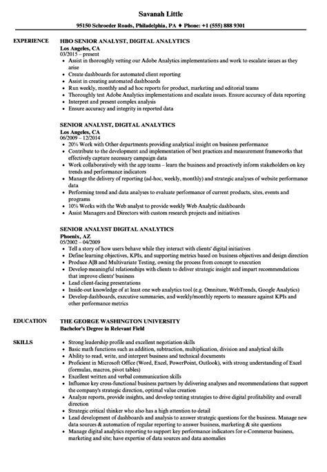 senior analyst digital analytics resume samples velvet jobs