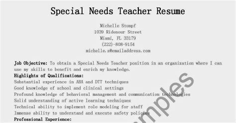 What All Needs To Be In A Resume by Resume Sles Special Needs Resume Sle