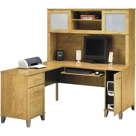 l shaped desk wooden pieces being useful as a desk hutch