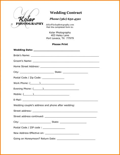 Photography Contract Template 5 Simple Photography Contract Invoice Exle