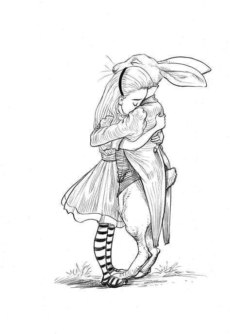 Alice and the White Rabbit by Chris Riddell, from the book '100 Hug… | Alice in wonderland