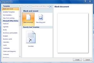New Blank Document in Word 2007