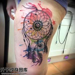 大腿彩色泼墨捕梦网纹身图案【升子纹身520】